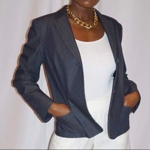 Ann Taylor Navy Blue Cotton Blazer with Pockets